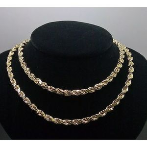 """Real solid gold 5mm 24"""" THICK Rope Chain New"""